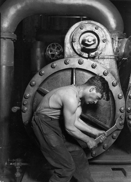 Lewis Hine - Steamfitter at International Center of Photography