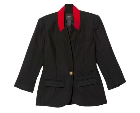 Smythe wool blazer with ruby red collar