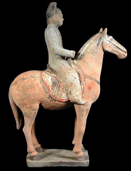 Far Eastern Arts & Antiques Chinese Tang Dynasty (7th-8th century) Terracotta Horse and Rider