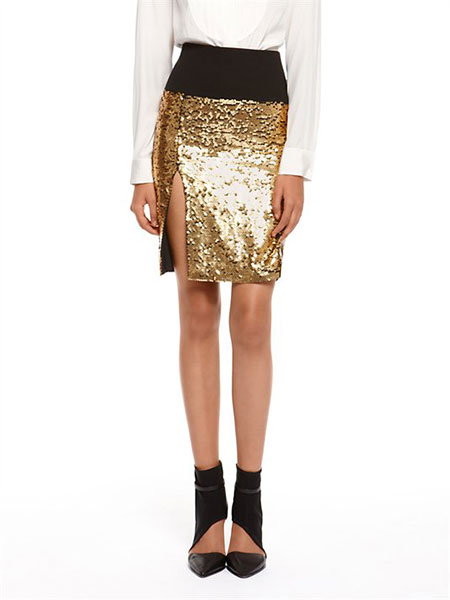 DKNY gold sequined skirt