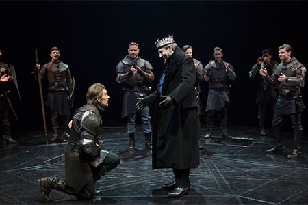 Ethan Hawke, Sunjata, Richard Easton and company in a scene from the Lincoln Center Theater production of Shakespeare's Macbeth