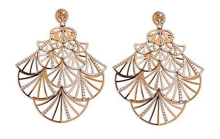 Rose gold fan earrings from the Abanico Collection featuring 7.78 carats of round cut diamonds. $41,600