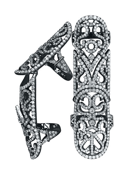 From the Lace Collection, this full finger, black plated, white gold ring features 4.40 carats of round brilliant cut diamonds mounted in black plated 18K white gold. $25,000