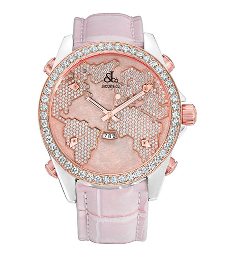 Signature Jacob & Co. watch featuring rose enamel world dial, 2.50 carats of pave set diamonds, a 3.25 carat rose gold diamond bezel, rose gold crowns, and a stainless steel case. $37,200