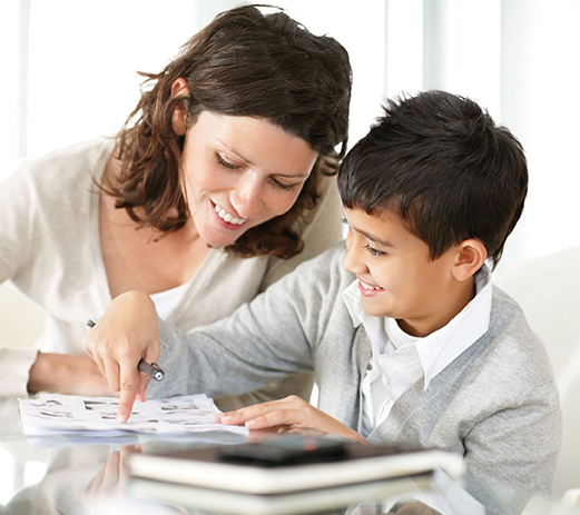 mother and son working on homework