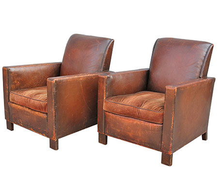 French Deco leather club chairs