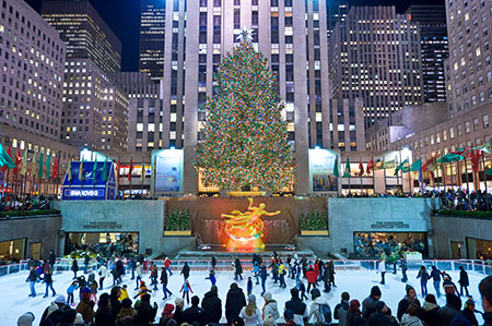 The Rink at Rockefeller Center and the Christmas Tree, which remains lit through January 7th