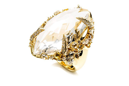 Golden Ice Marquis Ring by Alexis Bittar