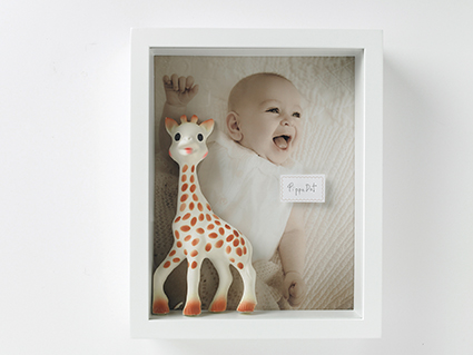 baby with giraffe scrapbox