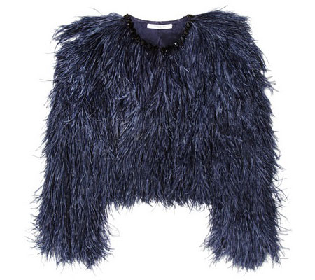 Givenchy midnight-blue ostrich feather jacket