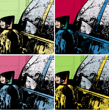 driving picture warhol style