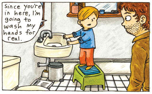 comic about kids washing hands