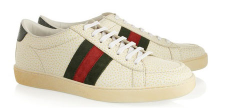 Gucci distressed leather sneakers