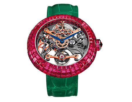 Jacob and Co Brilliant Skeleton Baguette Ruby watch