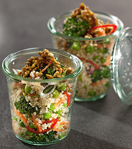 quinoa salad with curry sunflower seeds