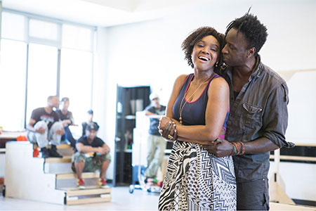 Saycon Sengbloh and Saul Williams in rehearsal for Holler If You Hear Me