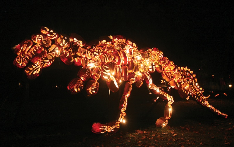 dinosaur at the great jack o lantern blaze