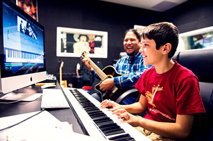 one-on-one music lesson at fusion academy