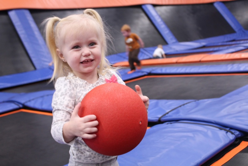 toddler at toddler time at sky zone indoor trampoline center in deer park