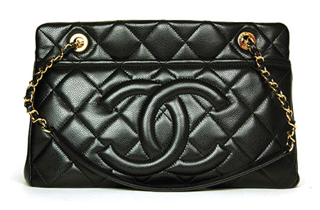 Chanel quilted tote in black
