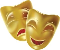 theater masks, comedy and drama