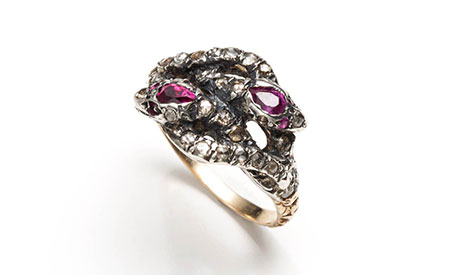 Alexis Bittar 1860s antique Ruby snake ring