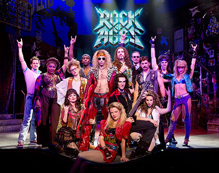 The cast of Rock of Ages on Broadway