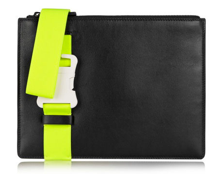 Christopher Kane neon-yellow buckled leather clutch with wrist strap
