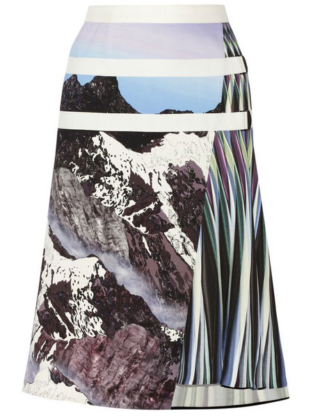 Peter Pilotto stretch woven skirt with snow-covered mountains