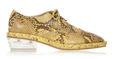 Simone Rocha signature Perspex heeled brogues in golden embossed leather