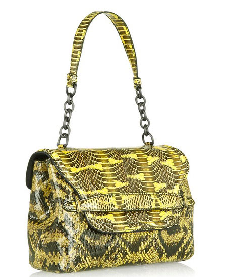 Bottega Veneta snakeskin yellow-and-black handbag