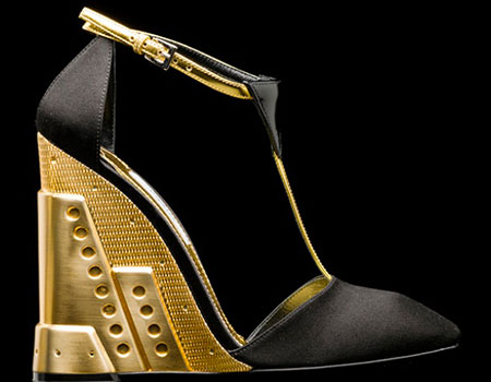 Prada gold-and-black wedge shoe