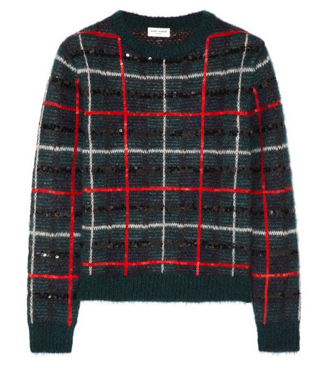 Hedi Slimane tartan sweater for Saint Laurent
